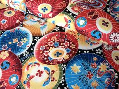 Asian umbrella print fabric