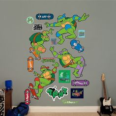 Teenage Mutant Ninja Turtles Classic Skateboarding Collection Wall Decals by Fathead, Multicolor