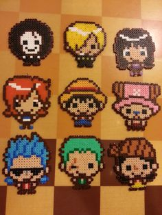 Kawaii Chibi One Piece Anime Characters perler beads by aLittleBeadofHeaven