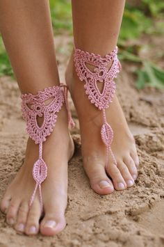 Crochet Powder Pink Barefoot Sandals, Nude shoes, Beach wedding Foot jewelry…