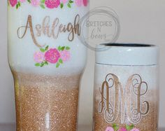 Matching Glitter Ozark Trail Tumbler 20oz, 30,oz or 40oz AND Can Cooler