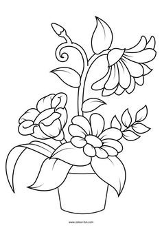 Printable Flower Coloring Pages, Free Kids Coloring Pages, Coloring Book Pages, Kids Colouring, Art Drawings For Kids, Easy Drawings, Flower Drawing For Kids, Hand Embroidery Patterns, Embroidery Designs