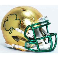 c07b79b6f NOTRE DAME IRISH GOLD HYDROFX SHAMROCK Riddell Speed Mini Helmet Nd  Football