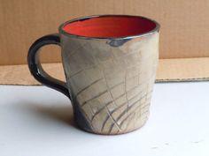 Hand Made Hand Carved Ceramic Pottery Mug Large Mug Black and Red Mug Comfortable Handle Mug Tan Mug Antique Rustic