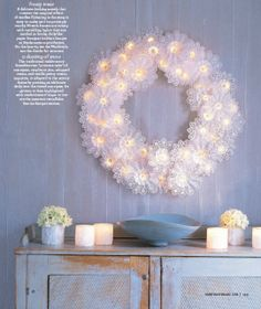 how cute is this doily wreath?  love it.