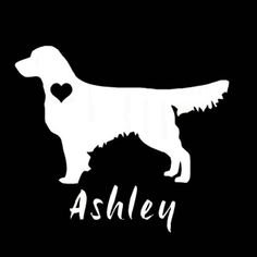 Golden Retriever  silhouette personalized vinyl 6 by justvinylit