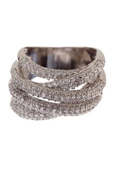 Pave CZ Overlapping Multi-Row Ring