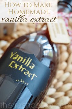 Two ingredients to make your own vanilla extract – EASY! Vanilla beans and liquor of your choice, a lidded bottle and some love; you will have your own amazing vanilla in no time! Click pictures for tips, details, and gift giving ideas. Flavored Alcohol, Gift Card Presentation, Madagascar Vanilla Beans, Homemade Vanilla Extract, Fun Easy Recipes, Vanilla Essence, Printable Labels, How To Make Homemade, Baking Ingredients