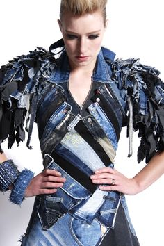 dress made from parts of many different recycled denim garments