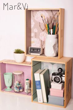 Wine box shelves with cute little things on it. Makes me happy Wine Box Shelves, Wine Boxes, Wine Furniture, Color Box, Life Design, Getting Organized, Floating Nightstand, Room Inspiration, Diy Projects