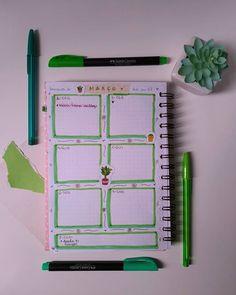 Como ficou meu Bullet Journal do mês de março. Layout inspirado no tema plantinhas da Aline Albino. Caderno organizado. Organização de tarefas. Colagens e desenhos fáceis. Adesivos para planner. Veja mais em instagram.com/tamaravilhosamente.art.br   #bulletjournal #plantinhas #cadernopontilhado Bullet Journal, Notebook, Layout, Instagram, Daily Planning, Easy Drawings, Paper Pieced Patterns, Stickers, Page Layout