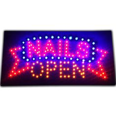 "Bright Animated NAILS OPEN Beauty Parlor Salon SPA LED Sign 19x10"" Display neon #AhhaProducts"