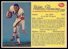 Willie Fleming 1963 Post CFL football card Football Icon, Football Cards, Baseball Cards, Canadian Football League, Grey Cup, Football Hall Of Fame, Tim Hortons, School Memories, Elementary Schools