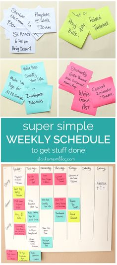 Super Simple Weekly Schedule to Get Stuff Done with Post-it Notes. This is how I Organize and Schedule my Life with Post it notes - Super Simple Hack! Week Schedule, Study Schedule, Time Management Tips, Project Management, Productivity Management, Productivity Apps, Organize Your Life, Simple Hack, Make Money Blogging