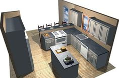 Hmm...L-shaped kitchen.  Move the seating to across the sink and this could be it...