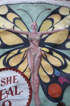 Carny Side Show Banner The Butterfly Girl Hand Painted Circus Carnival Vintage | eBay