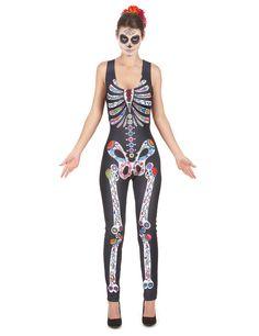 Knochengerüst-Kostüm für Damen bestehend aus einem bedruckten Einteiler. Im Stil des mexikanischen Dia De Los Muertos.