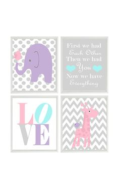Nursery Art Elephant Giraffe Chevron Polka Dot  Prints - Pink Purple Aqua Gray Wall Art  Love Baby Girl Decor First We Had Each Other Quote