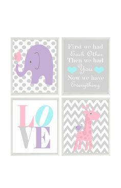 Nursery Art Elephant Giraffe Chevron Polka Dot  by RizzleandRugee, $50.00
