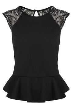 [FRONT-VIEW] Lace Back Peplum Top with Raglan Capped Sleeves, from TopShop. Price: £28.00, Item code: 04D06CBLK