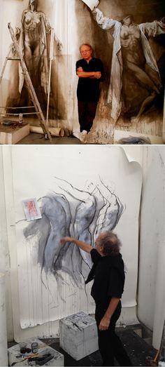 Ernest Pignon-Ernest                                                                                                                                                                                 Plus Figure Painting, Figure Drawing, Painting & Drawing, Studios D'art, Art Sketches, Art Drawings, Art Du Croquis, Photo D Art, Inspiration Art