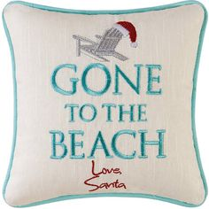 Gone To The Beach Love Santa Mini Pillow from http://www.oceanstyles.com
