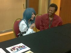 Victoria Paege and actor/comedian Phil LaMarr at the 2012 Saboten Con