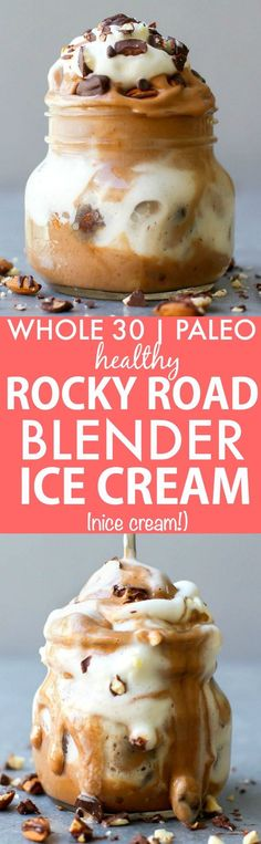 Clean Eating Blender Rocky Road Ice Cream (Whole Paleo, vegan, gluten free)- friendly fruit based nice cream made in a blender- NO cream or butter and completely dairy free and sugar free! {vegan, gluten free, paleo recipe} Source by gfshoestring Paleo Dessert, Paleo Sweets, Healthy Desserts, Dessert Recipes, Healthy Eats, Rocky Road Eis, Rocky Road Ice Cream, Whole 30 Vegetarian, Gourmet