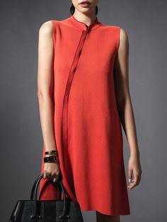 Silk Cotton Stand Up Collar Sleeveless Dress