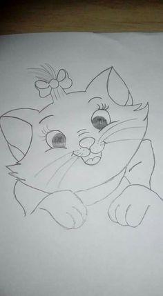 Disney Drawings Sketches, Easy Disney Drawings, Art Drawings Sketches Simple, Art Drawings For Kids, Cartoon Drawings, Cute Drawings, Easy Pencil Drawings, Kitten Drawing, Drawings Of Friends