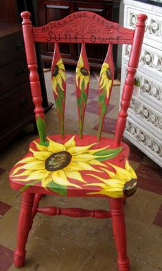 Whimsical accent chair has been painted with a crackle finish and then painted with loose free form sunflowers for a unique conversation piece. This is a very heavy sturdy chair that should give years of use. It is not a new chair but has been recycled. The distressed finish blends well with the shabby chic style of decorating.    PLEASE NOTE: THIS IS A PICK UP ITEM ONLY.