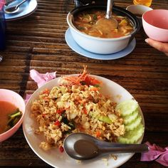 Thai sea food fried ice and Tom yam soup
