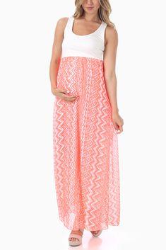 Neon-Coral-Chiffon-Tribal-Print-Maternity-Maxi-Dress #maternity #fashion