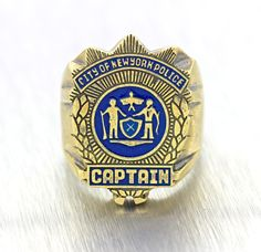 Mens Vintage Rare Solid 14k Yellow Gold NYPD Captain Enamel Police Ring