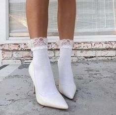 white pumps on white socks Dr Shoes, Sock Shoes, Me Too Shoes, Look Fashion, Fashion Shoes, Fashion Walk, White Fashion, Fashion Fashion, Fashion Women