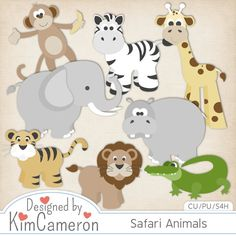 Safari Zoo Animals - Layered PSD Templates with PNG by Kim Cameron for Digital Scrapbooking #CUDigitals