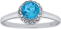 JCPenney FINE JEWELRY Faceted Genuine Blue & White Topaz Sterling Silver Ring