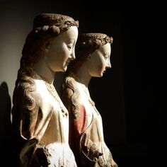 "st_emiliano on Instagram - Master of the Statues of Kaudewater ""Saint Barbara and Saint Catherine of Alexandria"", detail, walnut with original polychromy, 1470c. Rijksmuseum, Amsterdam. St Catherine Of Alexandria, Saint Barbara, Statues, Catholic, Saints, The Originals, Detail, Amsterdam, Instagram"