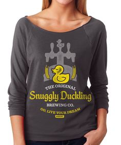 Womens Snuggly Duckling Brewing Co. French Terry 3/4 Sleeve T-Shirt, Dark Grey, Small