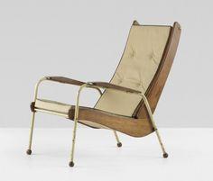 """""""Visiteur"""" lounge chair, model No.350, Manufactured by Les Ateliers Jean Prouvé, France, 1948/1952"""