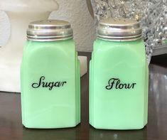 McKee Jadeite Roman Arch Sugar & Flour Range Shakers ~ Jadite Skokie Green Glass