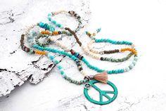Charm- & Bettelketten - ★ Kette Peace ☮ Boho ☮ Hippie ★ Patina - ein Designerstück von Lunas-SchmuckART bei DaWanda