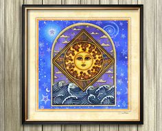 "Suns and Moons Art Print Dan Morris titled ""Ocean Sunrise"", Choose print size, Option to mount print, Celestial art, spiritual Dan Morris, Moon Symbols, Aurora, Square Art, Ocean Sunset, Moon Art, Celestial, Moon Child, Bold Colors"