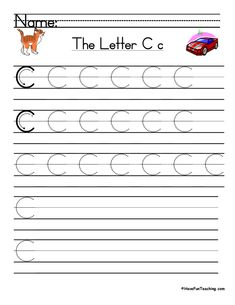 UsingLetter C Handwriting Practice Worksheet, students trace and then write the letter C in order build their Zaner-Bloser style print handwriting skills. Cursive Writing Practice Sheets, Handwriting Practice Worksheets, Teaching Handwriting, Cursive Writing Worksheets, First Grade Worksheets, Writing Words, Kindergarten Worksheets, Blends Worksheets, Tracing Worksheets