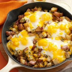 Baked Cheddar Eggs & Potatoes Recipe -I love breakfast for dinner, especially this combo of eggs with potatoes and cheese started in a skillet on the stovetop and then popped into the oven to bake. —Nadine Merheb, Tucson, Arizona for dinner Egg Recipes For Dinner, Egg Recipes For Breakfast, Breakfast For Dinner, Breakfast Dishes, Breakfast Time, Brunch Recipes, Breakfast Casserole, Breakfast Potatoes, Potato And Egg Breakfast
