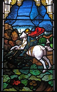 Detail of the Victorian stained glass window showing St George, St Nicolas Church, Great Kimble, Buckinghamshire, England