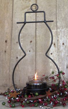 WROUGHT IRON YANKEE CANDLE JAR PILLAR HOLDER Primitive Country Rustic Snowman