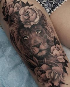 Als Melhores Tattoos de Pet - diy tattoo images - Tatouage Cute Tattoos, Leg Tattoos, Body Art Tattoos, Small Tattoos, Lion Thigh Tattoo, Leo Lion Tattoos, Mandala Lion Tattoo, Tatoos, Cat Mandala