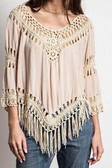 Crochet Flower Spliced Long Sleeves Blouse GREEN: Blouses | ZAFUL
