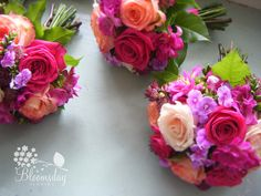 bridesmaids bouquets in vibrant tones by bloomsdayflowers, via Flickr